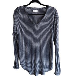 Madewell Anthem V neck long sleeve striped top M